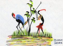 Peinture  Bonne Annee   Carte  Double.. - Postcards