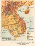 Indochine - Carte Géographique - Edition Spéciale Des Produits Du Lion Noir - Cartes Postales