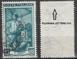 Filigrana Lettere Alta 5/10 - 12 Lire Ruota 3° SA Italia Al Lavoro - 6. 1946-.. Repubblica