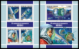 TOGO 2019 - Vostok 6, V. Tereshkova, M/S + S/S. Official Issue. - Space