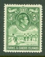 Turks & Caicos Is: 1938/45   KGVI   SG204     5/-   Yellowish-green    MH - Turks And Caicos