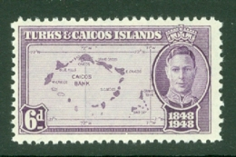 Turks & Caicos Is: 1948   Centenary Of Separation From Bahamas  SG213   6d   MH - Turks And Caicos