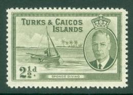 Turks & Caicos Is: 1950   KGVI   SG225    2½d      MH - Turks And Caicos