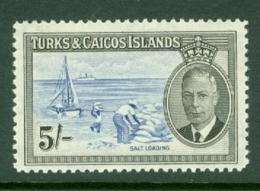 Turks & Caicos Is: 1950   KGVI   SG232    5/-      MNH - Turks And Caicos
