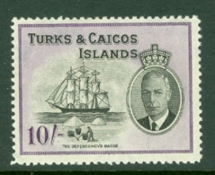 Turks & Caicos Is: 1950   KGVI   SG233    10/-      MH - Turks And Caicos