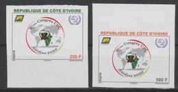 Côte D'Ivoire Ivory Coast 2018 IMPERF ND 27ème Congrès UPU Union Postale Universelle Map Elephant Elefant 2 Val. - Côte D'Ivoire (1960-...)