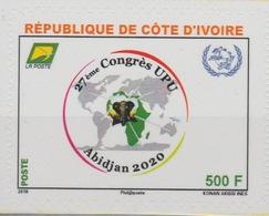 Côte D'Ivoire Ivory Coast 2018 Adhésif Adhesive Skl. 27ème Congrès UPU Union Postale Universelle Map Elephant Elefant - Côte D'Ivoire (1960-...)