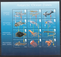 British Antarctic Territory / BAT MNH Michel Nr 713/24 From 2016 Ocean Zones Sheet / Catw 24.00 EUR - Brits Antarctisch Territorium  (BAT)