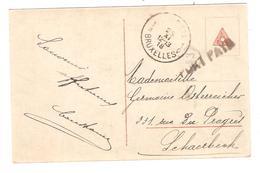 PR6362/ CP Fantaisie Enfant,Chien Griffe Port Payé V.Schaerbeek C.d'arrivée 25/11/1918 - Postmark Collection