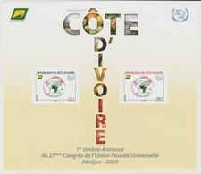Côte D'Ivoire Ivory Coast 2018 Bloc Block S/S 27ème Congrès UPU Union Postale Universelle Map Abidjan Elephant Elefant - Côte D'Ivoire (1960-...)