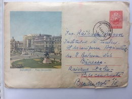 26 UNIVERSITY SQUARE BUCHAREST ROMANIA 1961 BUILDINGS  STATUES ROMANIA 1961 - 1948-.... Républiques