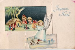 Carte A Volets Joyeux Noel - Ange Et Creche - Kerstmis