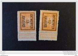 """Belgique 1912 Préo """" Anvers 12 Et Anvers 13  Lourde Charnière - Vorfrankiert"""