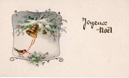 Carte Joyeux Noel - Rouge Gorge Faisant Sonner Une Cloche . - Noël