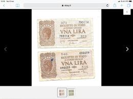 2 BANCONOTE 1 LIRA Luogotenenza 1944 : DiCristina/Cavallaro/Parisi.... - [ 1] …-1946 : Kingdom