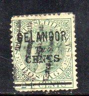 Y1205 - SELANGOR MALACCA 1891 , Soprastampa 2 Cents Su 24 Verde Usato. Difettoso - Selangor