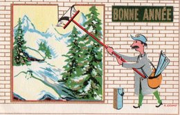 CARTE BONNE ANNEE - Colleur D'Affiche - Paysage De Neige Et Sapins - Illustrateur ? R. Grand . - New Year