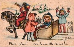 CARTE BONNE ANNEE - Traîneau Avec Enfants . - New Year