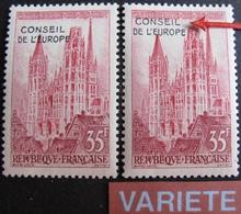 R1949/170 - 1958 - CONSEIL DE L'EUROPE / STRASBOURG - N°16 NEUF** + N°16 NEUF* Avec VARIETE ➤➤➤ Décalage Surcharge - Abarten Und Kuriositäten
