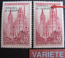 R1949/170 - 1958 - CONSEIL DE L'EUROPE / STRASBOURG - N°16 NEUF** + N°16 NEUF* Avec VARIETE ➤➤➤ Décalage Surcharge - Varieties: 1950-59 Mint/hinged