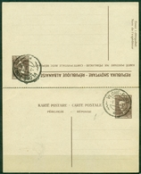 V8875 ALBANIA SHQIPËRIA 1930 Re Zog I, Cartolina Postale Da 15+15 Q. Con Risposta (Përgjigie), Annullo Di Vlonë-Port - Albania