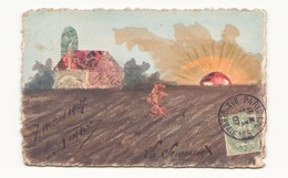 Carte Postale Peinte Et Réalisée Avec Des Timbres Datée 1907 - Cartes Postales