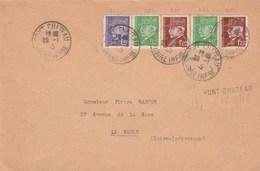 Lettre Reco Aff Pétain De Pont -Chateau Avec Griffe Zone-Occupée De St-Nazaire En Bleu - WW II