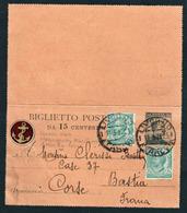ITALIE: Entier Postal De Victor Emmanuel III à 15c Avec Complément D'afft. Pour La Corse + ......................... - Interi Postali