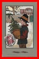 CPA  Illutrateur  Ethel PARKINSON.  Heureuse Année, Jeune Homme Et Le Sapin...CO2212 - Parkinson, Ethel