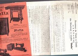 Machine A Coudre / Bicyclette / Stella / Nantes 21 Chaussee De La Madeleine / 2 Prospectus - Publicités