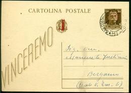 V9151 ITALIA RSI 1944 Cartolina Postale 30 C. Vinceremo Soprast., Fil. C104, Interitalia 102, Da S. Colombano Al Lambro - 4. 1944-45 Repubblica Sociale