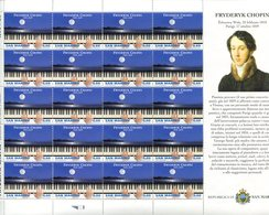 43385 San Marino, Complete Sheet Of 20 Stamps 2010 For Frederic Chopin,  Music Composer, MNH - Musique