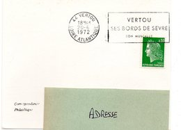 LOIRE ATLANTIQUE - Dépt N° 44 = VERTOU 1972 = FLAMME Texte VIN = SECAP 'BORDS De SEVRE / MUSCADET ' - Marcophilie (Lettres)