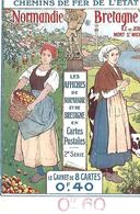 8 CPA  Chemin De Fer De L'Etat Voyages à Prix Reduits, Bretagne Et Normandie Avec CARNET DE 16 PAGES   TRES  RARE - Chemins De Fer