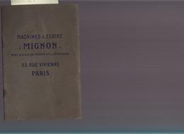 Machines A écrire Mignon / Plaquette Publicitaire / Circa 1910 - Publicités