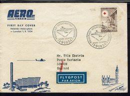 Finlande - 1954 - Enveloppe 1er Jour Illustrée De Helsinki Pour London - Timbre Croix Rouge 30 + 10 Mk - B/TB - - Airmail