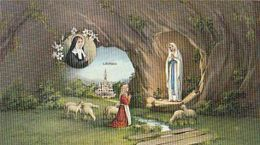 76985- OUR LADY OF LOURDES, VIRGIN MARY, SHEPHERDESS, SHEEPS, GROTTO, CHRISTIANITY, RELIGION - Vergine Maria E Madonne