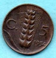 (r65) ITALIE ITALY  5 CENTS 1934  Copper  VITT.EM III  Km#59 - 1861-1946 : Royaume