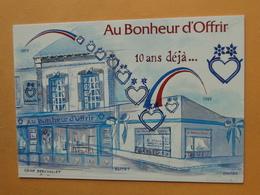 """OLIVET  (Loiret) - Carte Postale Moderne Publicitaire -- Au Bonheur D'Offrir """" 10 Ans Déjà 1989 - 652 Rue Marcel Belot - Publicité"""