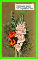 FLOWERS, FLEURS - BOUQUET DE GLAÏEULS - DON'T WORRY ABOUT THE FUTURE, THE PRESENT IS ALL THOU HAST - TRAVEL IN 1910 - - Fleurs