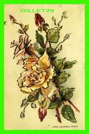 FLOWERS, FLEURS - BOUQUET DE ROSES - AQUARELLE - BRILLANTS - CIRCULÉE EN 1906 - - Fleurs