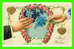 FLOWERS, FLEURS - FER À CHEVAL EN FLEURS - BEST WISHES - EMBOSSÉE - CIRCULÉ EN 1908 - - Fleurs