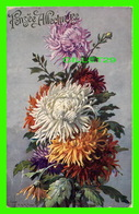 FLOWERS, FLEURS - GERBE DE CHRYSANTHÈMES - PENSÉE AFFECTUEUSE - CIRCULÉE - ÉDITION SID - - Fleurs