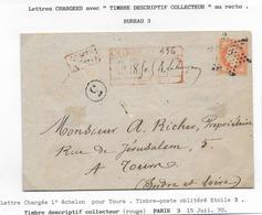 1870 - LETTRE CHARGEE Avec DESCRIPTIF COLLECTEUR Au RECTO De PARIS Avec ETOILE 3 => TOURS - Marcofilie (Brieven)