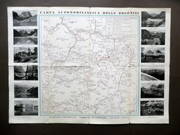 Carta Automobilistica Delle Dolomiti Garage Centrale Cortina D'Ampezzo Anni '20 - Vecchi Documenti