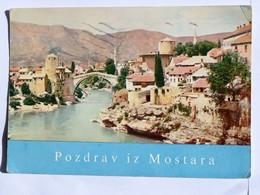 C.P.A. : BOSNIE : Pozdrav Iz MOSTARA, A View Fo The Old Bridge, Stamp In 1964 - Bosnie-Herzegovine