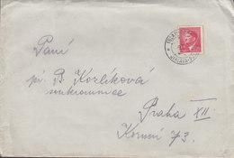 Böhmen & Mähren JIHLAVA 194? Cover Brief PRAHA 1.20 Hitler Stamp - Bohême & Moravie