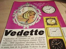 ANCIENNE PUBLICITE HORLOGE VEDETTE 1965 - Bijoux & Horlogerie