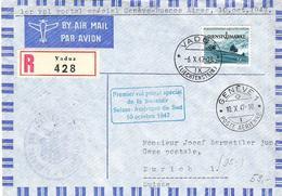 Liechtenstein 1947: RARE Swissair-Erstflug Genève > Buenos Aires Mit DIENST+MARKE No. 35 Mit O VADUZ 6.X.47 - Service