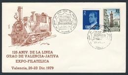 Spain Espana 1979 Cover Brief Enveloppe - 125 Aniv. Linea Grao De Valencia - Jativa / Eisenbahn / Railway - Treinen